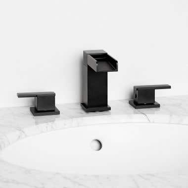 Waterfall Widespread Bathroom Sink Faucet - Metal Lever Handles