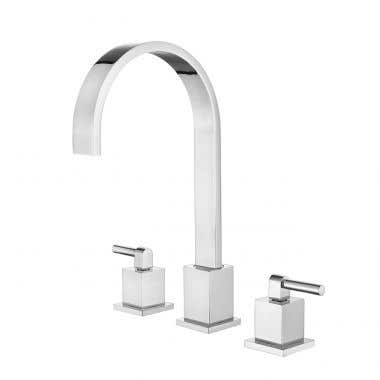 Widespread Gooseneck Bathroom Sink Faucet - Metal Lever Handles