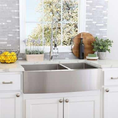 Stainless Steel 33 Inch Double Bowl Apron Front Farmhouse Kitchen Sink