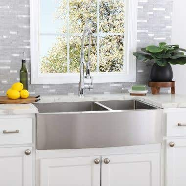 Stainless Steel 36 Inch Double Bowl Apron Front Farmhouse Kitchen Sink