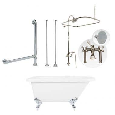 Randolph Morris 54 Inch Clawfoot Tub Rim Mount Shower Enclosure With Faucet And Watering Can Shower Head
