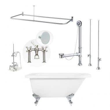 Savanna 60 Inch Acrylic Clawfoot Tub Shower Package