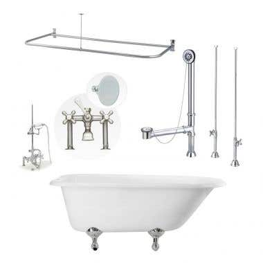 Heritage 60 Inch Cast Iron Clawfoot Tub Shower Package