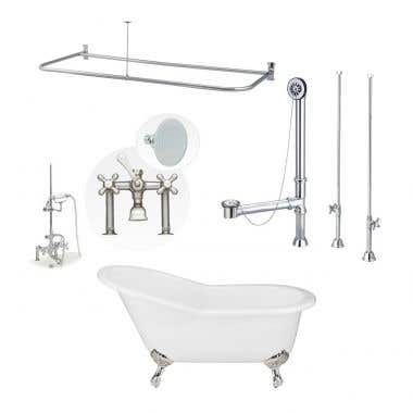 Adela 62 Inch Cast Iron Slipper Clawfoot Tub Shower Package