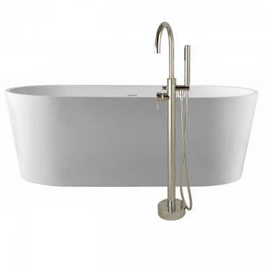 Mia 67 Inch Acrylic Double Ended Freestanding Tub Package - No Faucet Drillings - White / Chrome Fixtures
