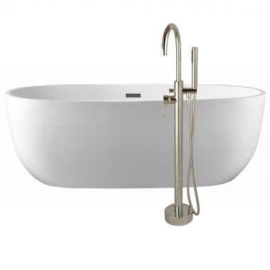 Zoey 67 Inch Acrylic Double Ended Freestanding Tub Package - No Faucet Drillings - White / Chrome Fixtures