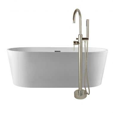 Mia 53 Inch Acrylic Double Ended Freestanding Tub Package - No Faucet Drillings - White / Chrome Fixtures