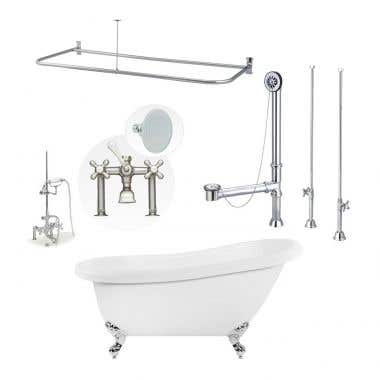 Bristol 67 Inch Acrylic Slipper Clawfoot Tub Shower Package