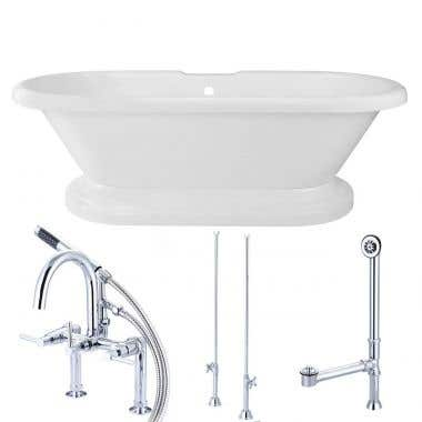 Amelia 71 Inch Acrylic Double Ended Pedestal Tub Package - White / Chrome Feet & Fixtures