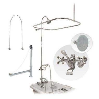 Randolph Morris Clawfoot Tub Wall Mount Shower Enclosure Complete Set