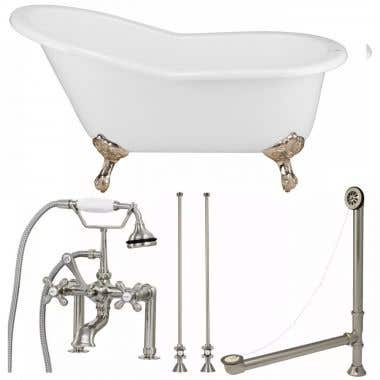 Randolph Morris Tub Package 13: 61-inch Slipper Clawfoot Bathtub with British Telephone Faucet with Fixtures