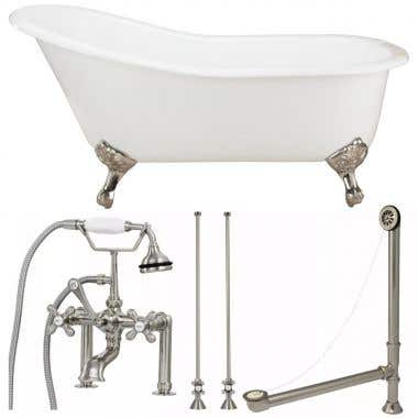Charlotte 60 Inch Cast Iron Slipper Clawfoot Tub Package