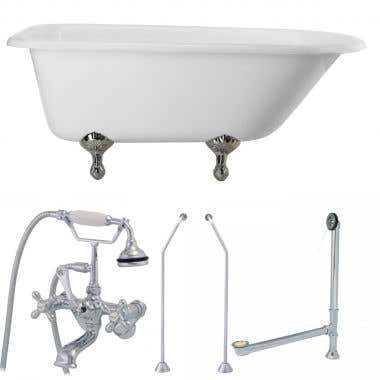 Chrome 60 Inch Classic Clawfoot Tub Package