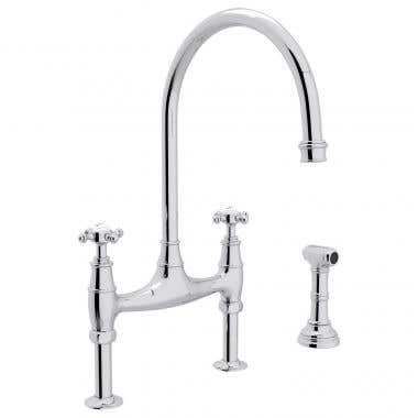 ROHL Bridge Kitchen Faucet with Sidespray and Cross Handles