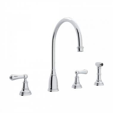 ROHL Low Lead Perrin & Rowe 4-Hole C-Spout Kitchen Faucet with Sidespray