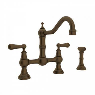 ROHL Bridge Kitchen Faucet with Lever Handles and Sidespray