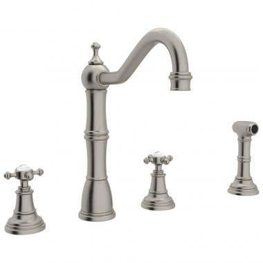 ROHL Perrin & Rowe 4-Hole Kitchen Faucet with Cross Handles and Spray