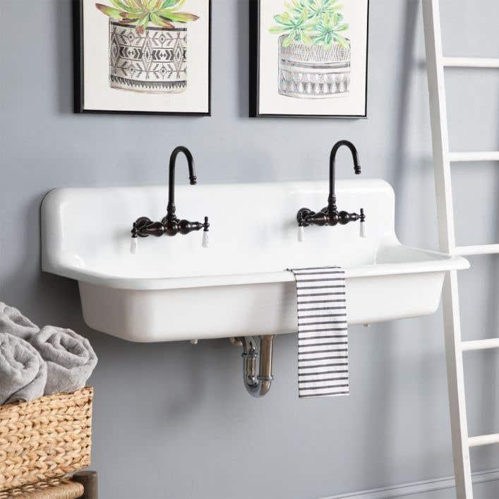 48 Inch Cast Iron Wall Mount Farmhouse, Trough Sink For Bathroom
