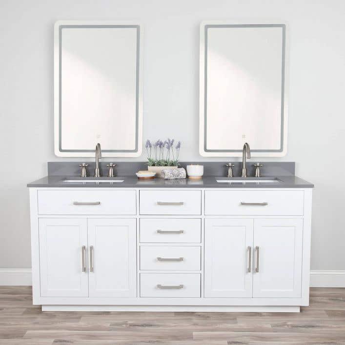 Barrett 72 Inch Oak Vanity, Frameless Vanity Mirror 72 Inches