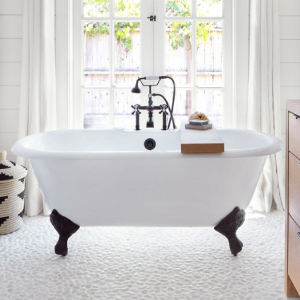 CAMBRIDGE CAST IRON DOUBLE ENDED - CLAWFOOT TUB - RIM FAUCET DRILLINGS